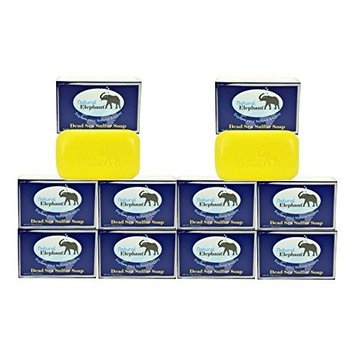 Dead Sea Sulfur Soap 4.4 oz 10 Pack (10 Soap Bars) by Natural Elephant