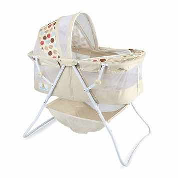 Big Oshi Emma Newborn Baby Bassinet - Portable Bassinet for Boys or Girls - Perfect for Bedside, Indoors, or Outdoors - Lightweight for Travel - Canopy Netting Cover - Wood Bed Base, Beige [Portable Bassinet]