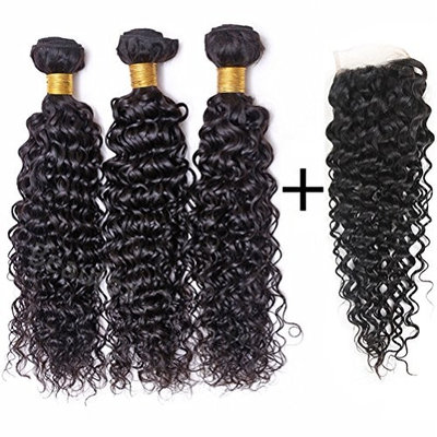 BEAUFOX Brazilian Water Wave 3 Bundles With Closure Free Part Remy Human Hair Extension Unprocessed Virgin Hair Can Be Dyed and Bleached
