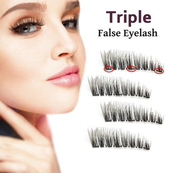 3 Magnetic Eyelashes Triple Magnet False Eyelashes No Glue Fake Eye lashes For Women Makeup Natural Look (4 Pcs)(01-Three)