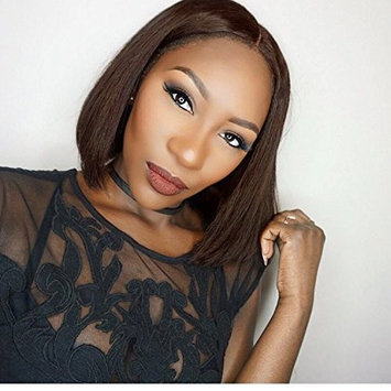 Brown Bob Lace Front Wigs Straight Human Hair Glueless Brazilian Virgin Remy Wigs Middle Part with Baby Hair For Women 10inch