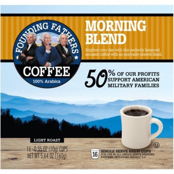 Founding Fathers Morning Blend Light Roast Single Serve Brew Cups, 0.34 oz, 16 count