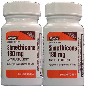 Simethicone 180mg Softgels Anti-Gas (Compare to Phazyme Ultra Strength) 60ct, PAck of 2