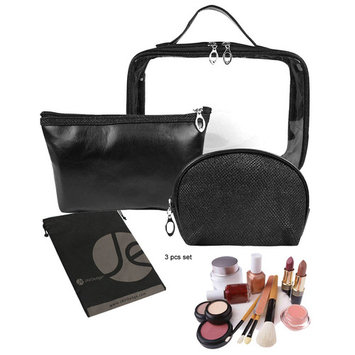 JAVOedge (3 PCS Set) Matching Cosmetic, Toiletry, Clear PVC with Carrying Handle and Zipper Storage Travel Bag Set