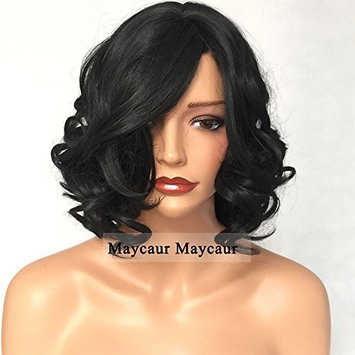 Vanessa Queen Black Color Short Wave Synthetic None Lace Wigs With Bangs Body Wave Heat Resistant Fiber Hair Wigs 14inch (14 Inch)