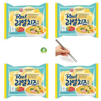 Ottogi Real Cheese Ramen Ramyun Noodle Soup 135g (4PCS) + (1) Chopsticks