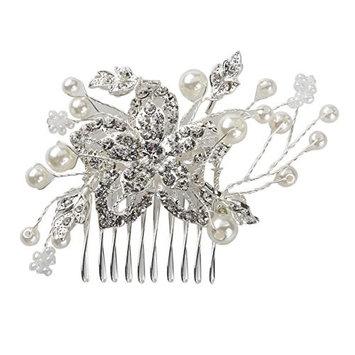 WINOMO Bridal Wedding Silver Crystal Pearls Women Hair Comb Clips