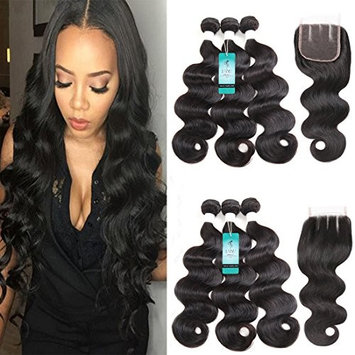 UDU Hair Brazilian Body wave with Closure 3 Bundles Brazilian Virgin Hair with 3 Part Lace Closure 100% Unprocessed Human Hair Bundles (16 18 20+16 Three Part Closure)