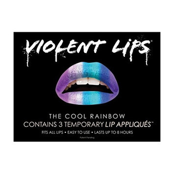 Violent Lips COOL RAINBOW - Lot of (3) Packages of 3 Lip Tattoo Appliques Each, Total of 9 Appliques in The Cool Rainbow