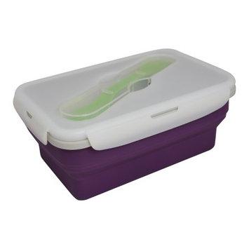 Eco Vessel Collapsible Silicone Lunchbox - Single Compartment w/ Utensil-Purple