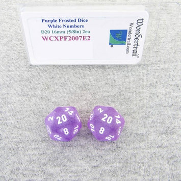 Wondertrail Products Purple Frosted Dice with White Numbers D20 Aprox 16mm (5/8in) Pack of 2 Wondertrail