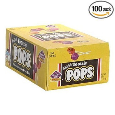 Tootsie Roll Tootsie Pops, Assorted Flavors, 100-Count Box - Pack of 2