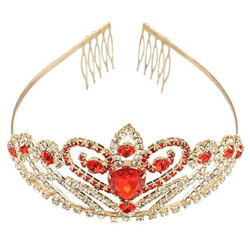 Tinksky Wedding Tiara with Comb Crystal Rhinestone Hair Tiara Wedding Party Bridal Headband (Gold Red)