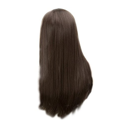 Homyl 24'' Long Brown Straight Hair Wig, Natrual Silk Full Hair Wigs Hairpirces Heat Resistant Cosplay Party Wedding Costume Playing