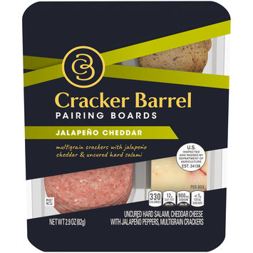 Cracker Barrel Pairing Boards Jalapeño Cheddar Uncured Hard Salami & Multigrain Crackers