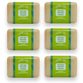 Savon et Cie Triple Milled Soap, Verbena enriched with Organic Shea Butter, 100% Pure Vegetable Based, Natural French Bath Soap, Energizing, Refreshing, Paraben Free 6 x 7 oz (200g) Value Pack