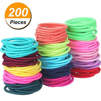 TecUnite 200 Pieces Multicolor Tiny Baby Girls Hair Ties No Crease Hair Bands Bulk Elastics Ponytail Holders, 2.5 cm in Diameter (2 mm in Thickness)
