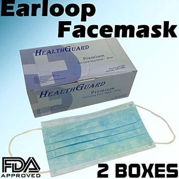 3-Ply Commercial Grade Dental Surgical Medical Disposable Earloop Face Masks, Latex Free | FDA Registered & Approved! (100 Masks/2 Boxes, Blue)