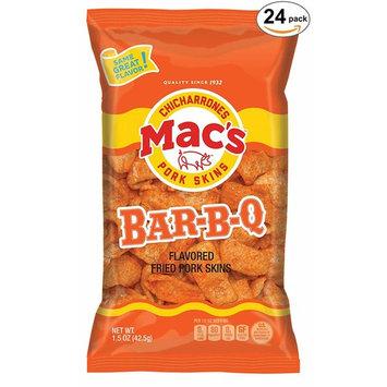 Mac's BBQ Pork Skins - Low Carb, Keto Friendly Snack - Crunchy Chicharrones/Pork Rinds (1.5 oz bags, 24 ct)