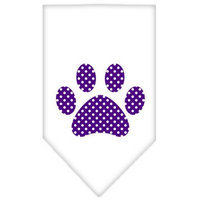 Ahi Purple Swiss Dot Paw Screen Print Bandana White Large