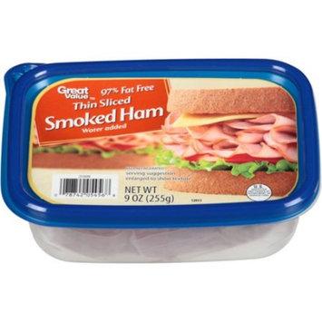 Great Value Thin Sliced Smoked Ham, 9 oz