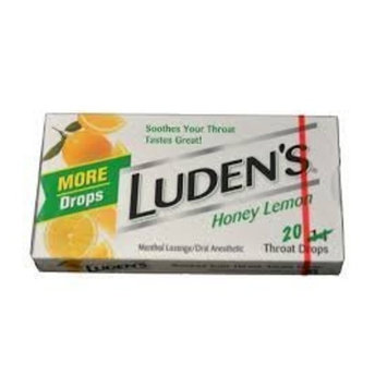 Ludens Honey Lemon Throat Drops - 20 Drops (Pack of 20)