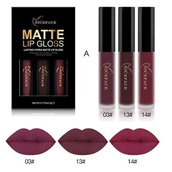 Lanhui_3PCS New Fashion Waterproof Matte Liquid Lipstick Cosmetic Sexy Lip Gloss Kit for Elegant Women