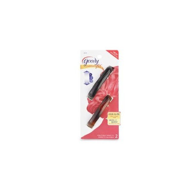 Goody Medium Plastic Adjustable Barrete Click to Fit Fine to Thick Hair Pack of 2 Each
