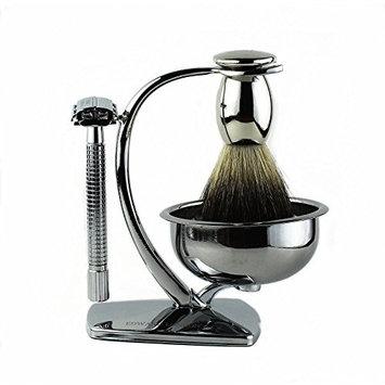Edward London & Co. Premium Shaving Gift Set - 100% Super Fine Badger Brush, Classic Chrome Safety Razor, Shaving Stand with Bowl