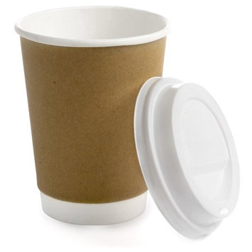 Earth's Natural Alternative Double Wall Kraft Hot Coffee Cup + Lid, 12 Oz, 50 Ct