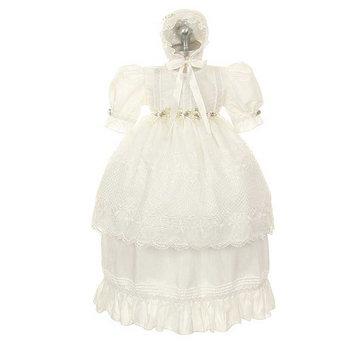 Rain Kids Toddler Girl 3T White Rosebud Baptism Bonnet Dress