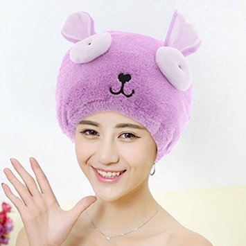 Adjustable Plush Cute Big Eyes Baby Hair Drying Hat Soft Baby Shower Hat Protect Baby Cap Quick Dry Hair Drying Cap Towel Head Wrap Hat Cute Strong Absorbing Hair Cap for Adult,Purple