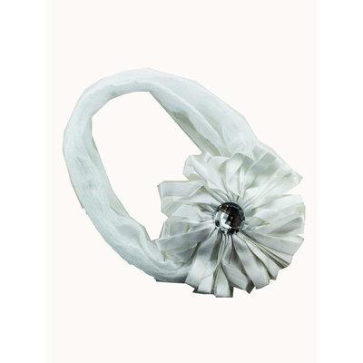 Flower Bud w/ Gem Headband Flower Headband (White)