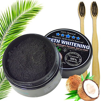 Charcoal Teeth Whitening Powder Natural Organic Activated Charcoal Bamboo Toothpaste with 2 Bamboo Toothbrushes - Freshens Breath, gets Rid of Stains