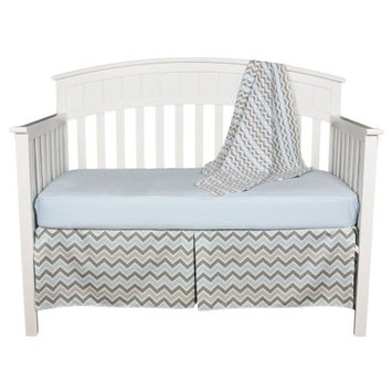 Abc, Blue and Gray Chevron Zig Zag Baby Bedding Set with Sweater Blanket