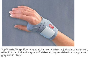 3 Point Products Wrist Wrap Adjustable Compression Brace - Color: Gray, Style: Medium / Large