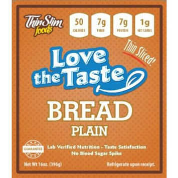 ThinSlim Foods Love-The-Taste 50 Calorie, 1g Net Carb Low Carb Bread, 2pack (Plain Thin Sliced)