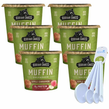 Kodiak Cakes Muffin Cup High Protein Snack Just Add Water Ready in One Minute Apple Cinnamon 6 Pack bundle with Lumintrail Measuring Spoons