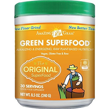 Amazing Grass Green Superfood, Original, Powder, 30 servings, 8.5oz Wheat Grass, Spirulina, Alfalfa, Vitamin K, Greens, Detox [Original]
