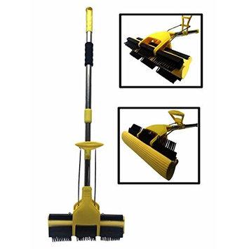 Durable 2-in-1 Sweeper Mop Broom Sweeping Dust Crumbs Rubber Bristles & Sponge
