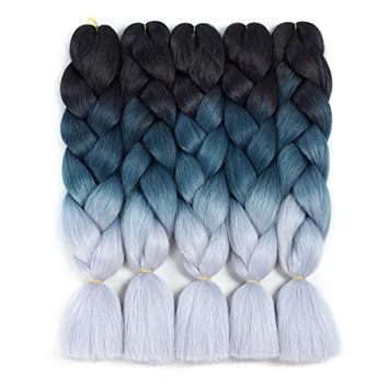 Ameli Kanekalon Braiding Hair Synthetic Hair Extensions Ombre Twist Braids Hair High Temperature Hair Extensions (100g/Pc 24