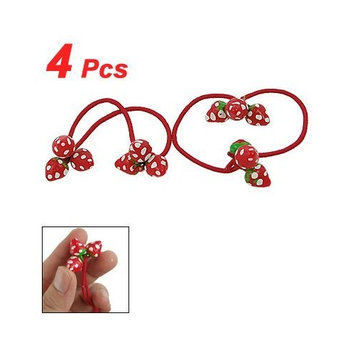 4 Pcs Strawberry Elastic Rubber Hair Band Ponytail Ties