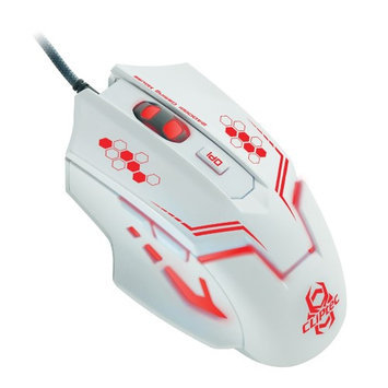 CLiPtec THERIU White 2400 Adjustable DPI Optical 6 Button Wired LED Gaming Mouse