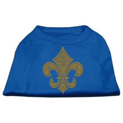 Ahi Gold Fleur de Lis Rhinestone Shirts Blue Lg (14)