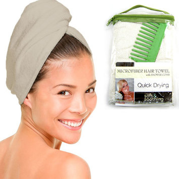 Hair Wrap Towel + Shower Comb Quick Dry Microfiber Twist Turban Bath Brush Sale!