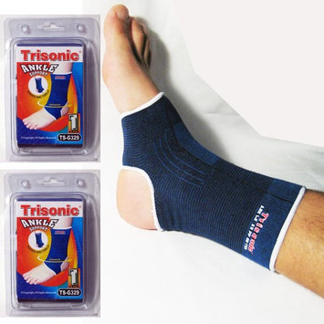 Trisonic 2 X ELASTIC ANKLE BRACE SUPPORT BAND SPORTS GYM PROTECT THERAPY COMPRESSION NEW