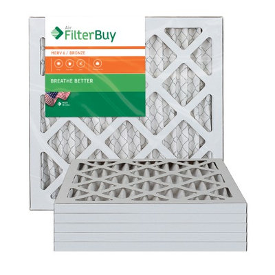 10x16x1 AFB Bronze MERV 6 Pleated AC Furnace Air Filter. Filters. 100% produced in the USA. (Pack of 6)