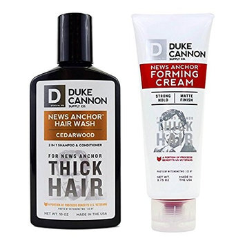 Duke Cannon News Anchor Thick Hair Combo Set: Forming Cream + Cedarwood Hair Wash, 2 in 1 Shampoo & Conditioner
