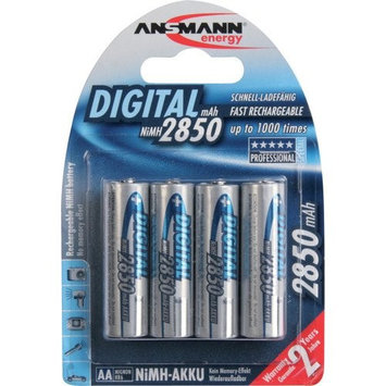 ANSMANN AA Rechargeable Batteries 2850mAh high-capacity high-rate rechargeable NiMH AA Batteries for flashlight, camera, radio etc. (4-Pack) (5035092 VE12)
