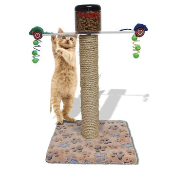 Design With Vinyl Cat Scratching Pole And Treat Feeder Weight Loss Exercise Station